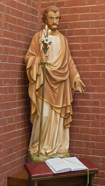 Saint Joseph Roman Catholic Church, in Clayton, Missouri, USA - statue of Saint Joseph in side narthex