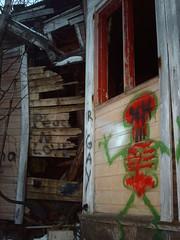 Skeleton graffiti in abandoned villa