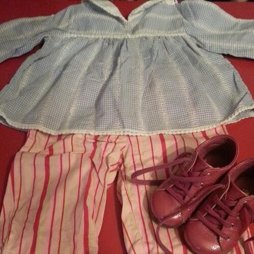 Tenu du jour de ma néné: blouse vintage chiné et pantalon #culbuto et chaussures #andré #vintage #blog #blogueuse #mode #look #baby #nofiltre