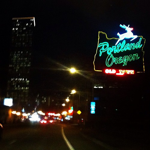 Amazing shot of the PDX sign taken last night with @lacylike and @jessicaswift   GOOD TIMES!