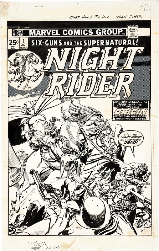Gil Kane and Tom Palmer Night Rider #1 Cover Original Art (Marvel, 1974)