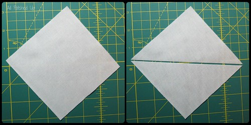 Cut bgfabric on diagonal