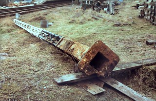 86-290 0ne of two ex-SR lattice signal posts recovered from Selsdon Station by the K&ESR awaits collection