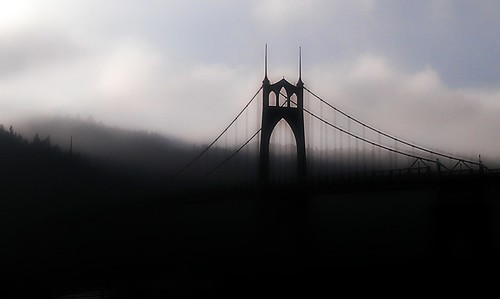 Foggy/Cold Silhouette - St. Johns Bridge