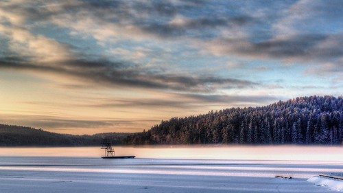 winter lake snow forest sunrise landscape moody hd hdr stamsjön