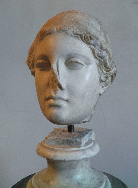 Head of Hygeia (daughter of the god of medicine, Asclepius), Roman copy of the Augustan age after a Greek original of the early 4th century BC, from the Palatine stadium, Palatine Museum, Rome