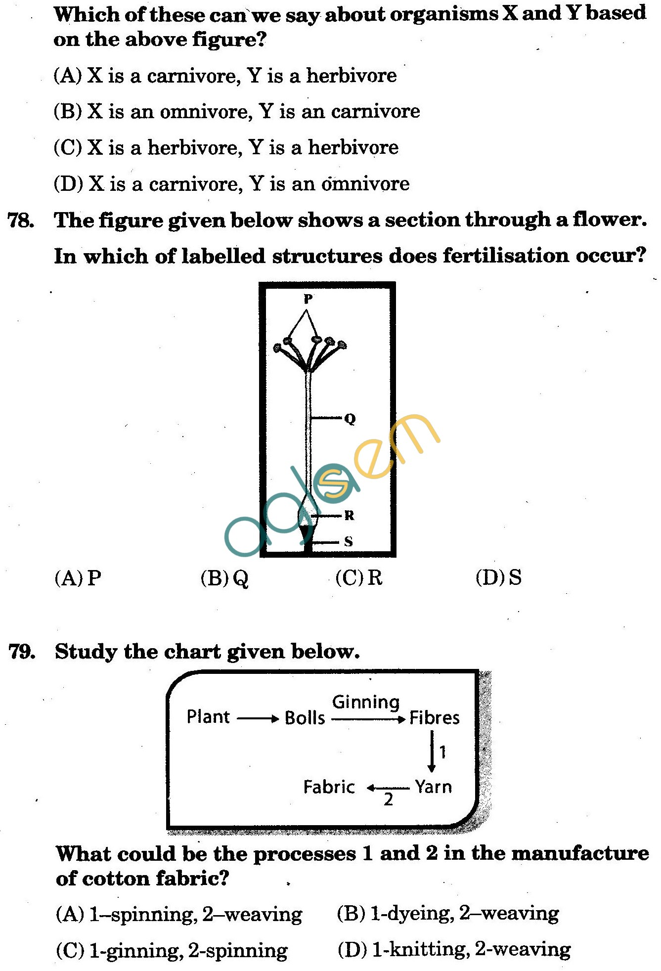 NSTSE 2010: Class VI Question Paper with Answers - Biology