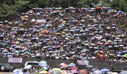 Thousands of Zimbabweans gathered at National Heroes Acre for the funeral of John Nkomo, the Vice President of the Republic. Nkomo died in January 2013. by Pan-African News Wire File Photos