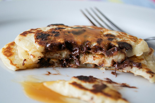 choc chip pancakes with toffee sauce cut