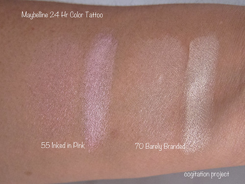 Maybelline 24 hr color tattoo metal in inked in pink and for Maybelline color tattoo barely branded
