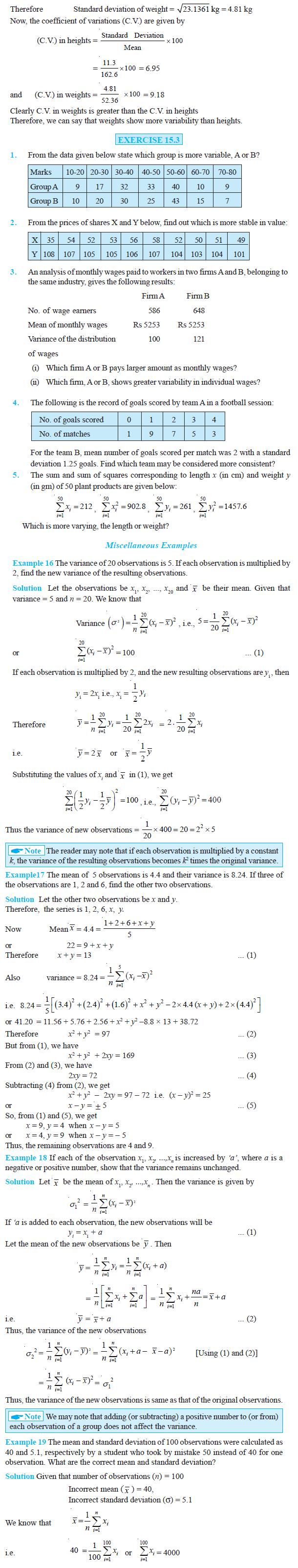 NCERT Class XI Mathematics Chapter 15 – Statistics