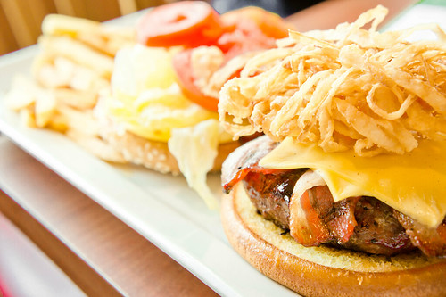 Beef and bacon hamburger with fries