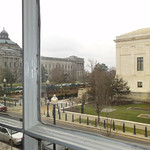 View from middle window showing Supreme Court and Library of Congress and Supreme Court guardshack directly across street looking Southwest