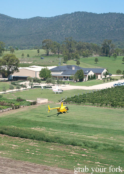 Helicopter landing at Margan Wines in Broke, Hunter Valley