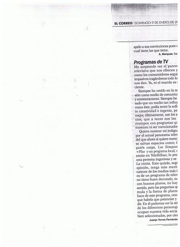 Carta al Director Periodico El Correo 9 Enero 2000 by LaVisitaComunicacion