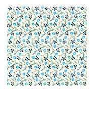 11a BOLD antique blue painted wallpaper flowers LARGE SCALE - 7x7 inch