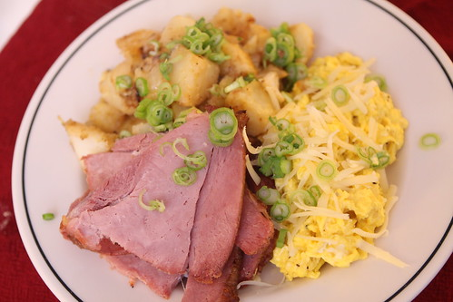 Ham with Gruyere Scrambled Eggs and Home Fries