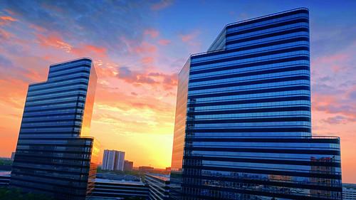 sunset sky sun building skyline architecture clouds skyscraper texas sony houston rx100 dscrx100