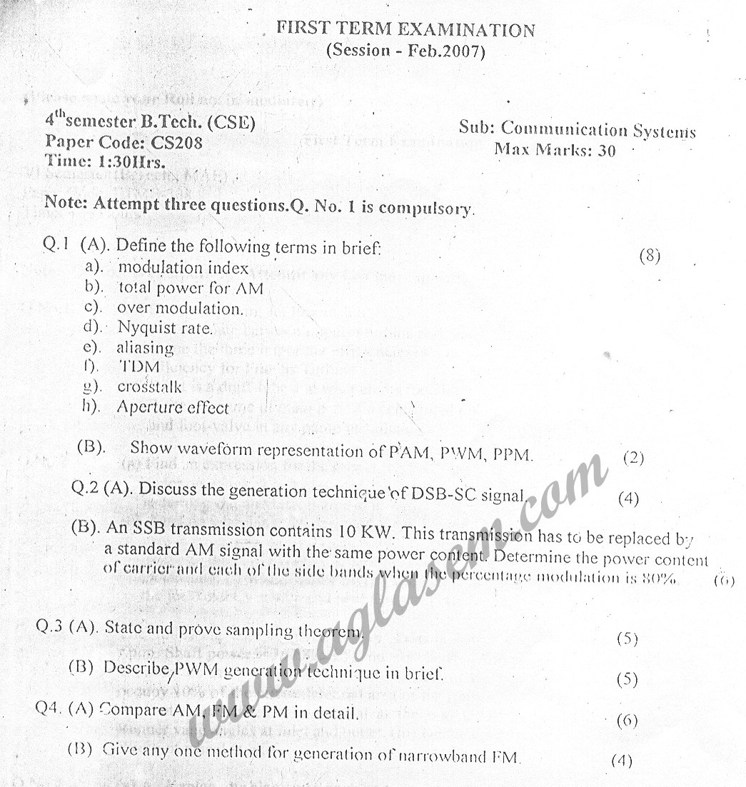 GGSIPU Question Papers Fourth Semester – First Term 2007 – ETCS-208