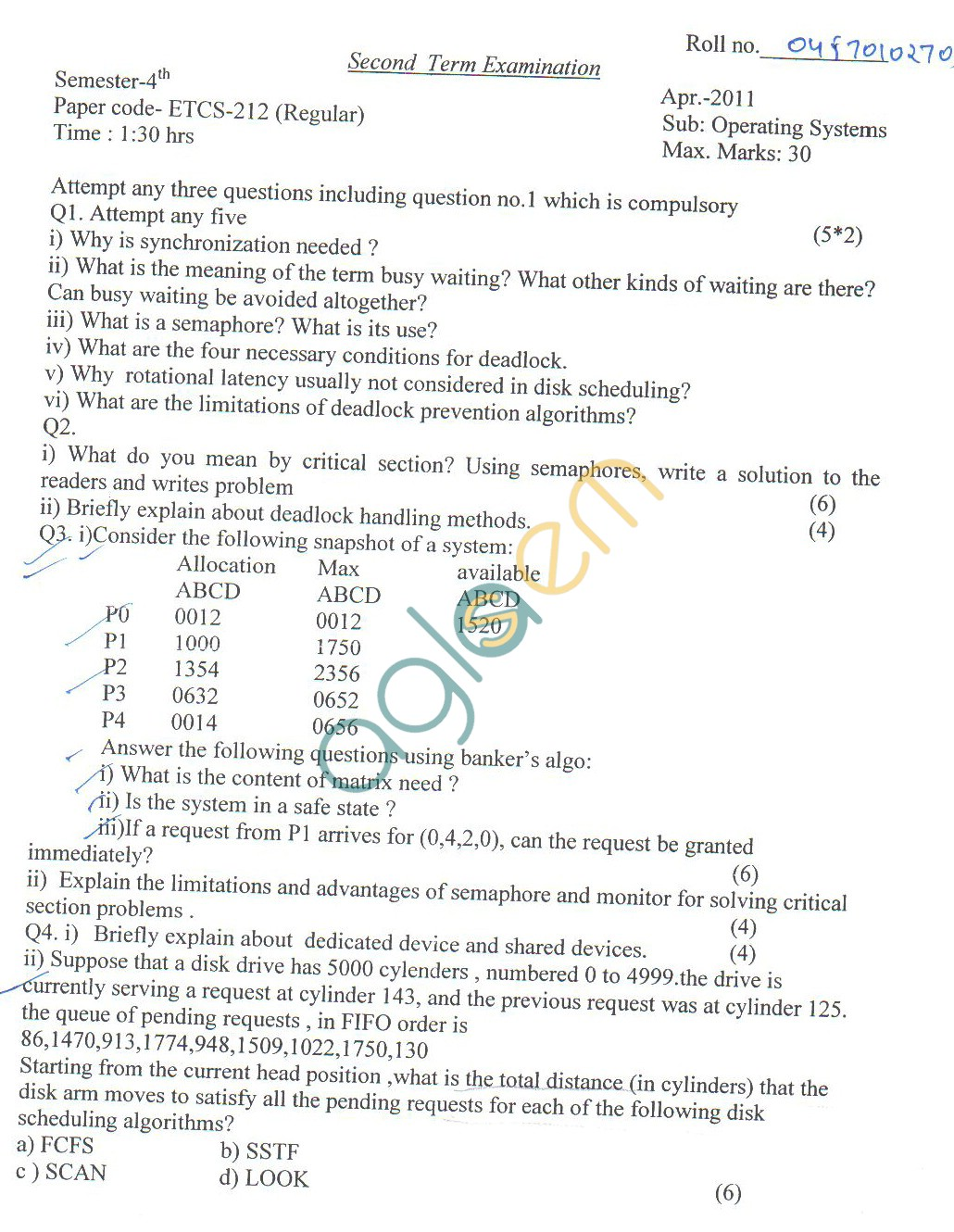 GGSIPU Question Papers Fourth Semester – Second Term 2011 – ETCS-212