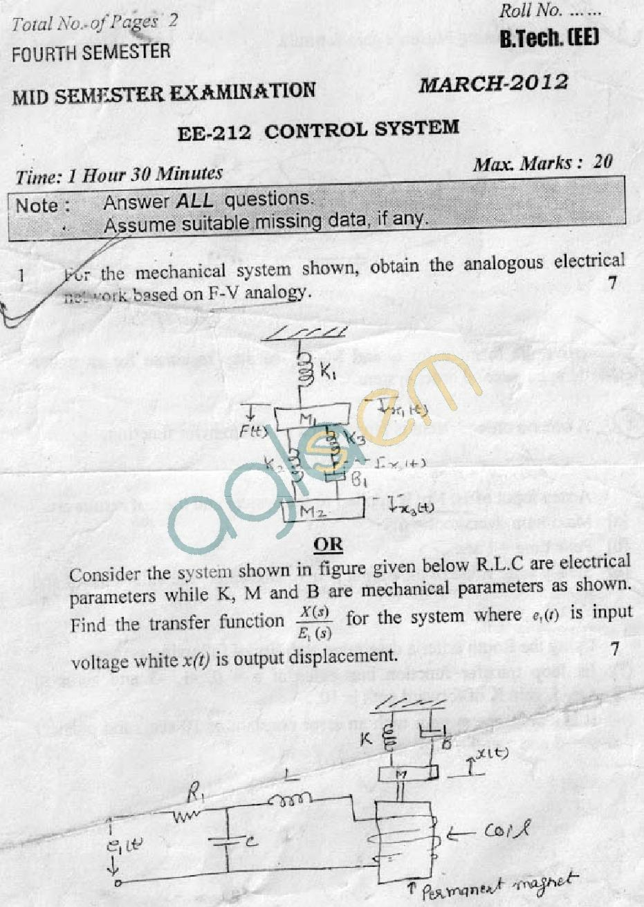 DTU: Question Papers 2012 - 4 Semester - Mid Sem - EE-212