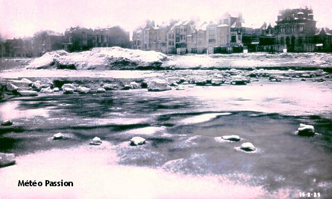 banquise et glaces sur la plage de Malo-Les-Bains le 14 février 1929 météopassion