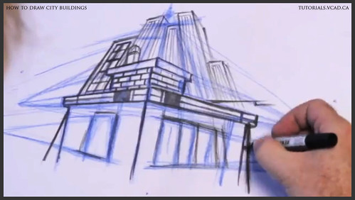 learn how to draw city buildings 023