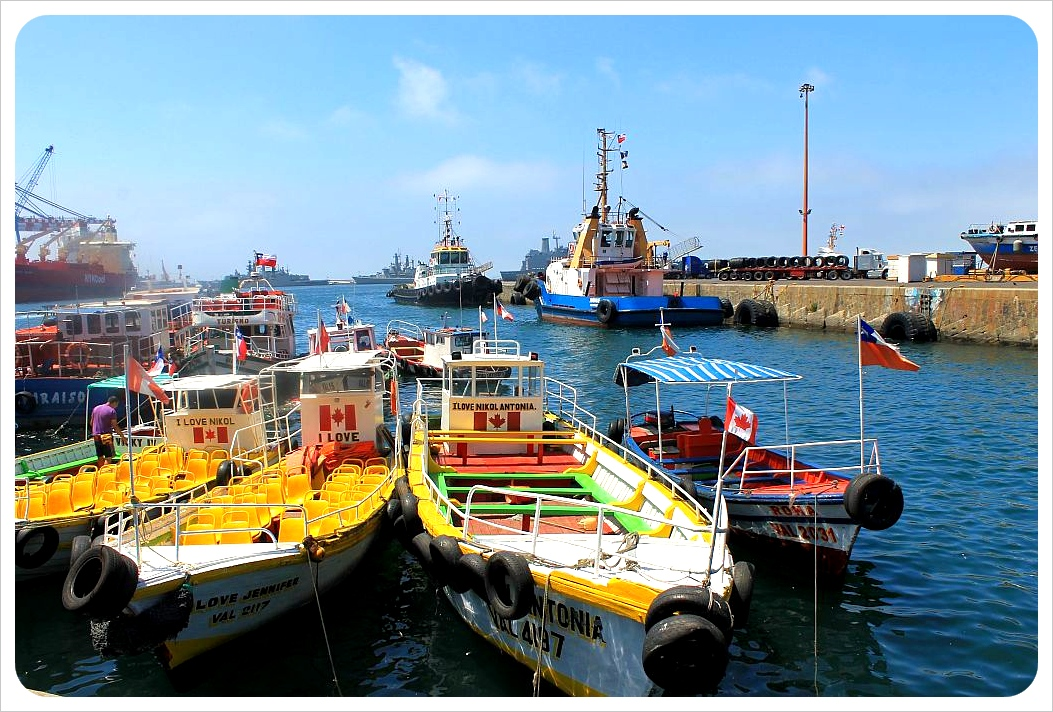 colorful boats in valparaiso