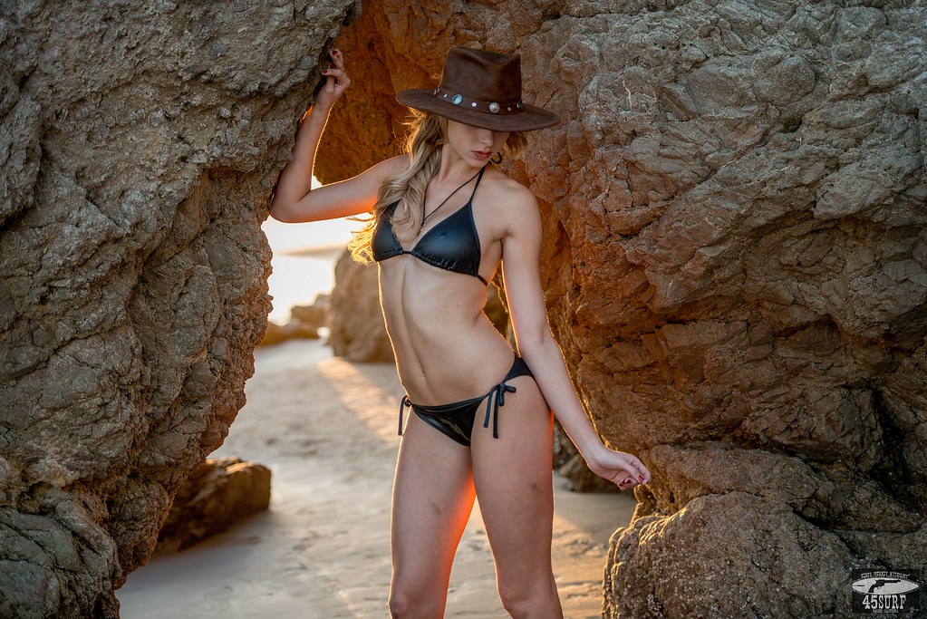 Backlit ! Pretty Blonde Bikini Swimsuit  Model in Malibu Sea Cave!  Nikon D800 Photos!