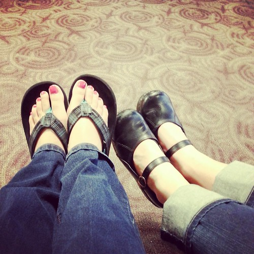 Customary feet picture at the airport