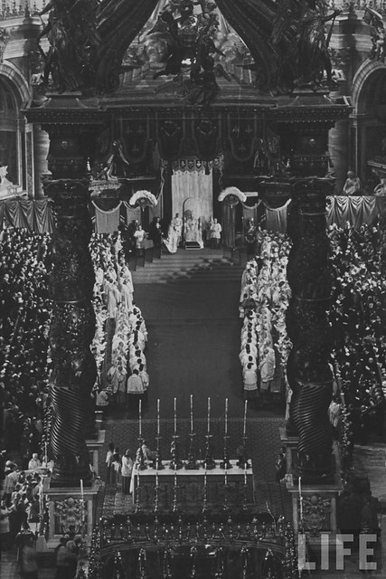 Pope John XXIII (C) sitting during his coronation ceremony. Rome, Italy - November 1958