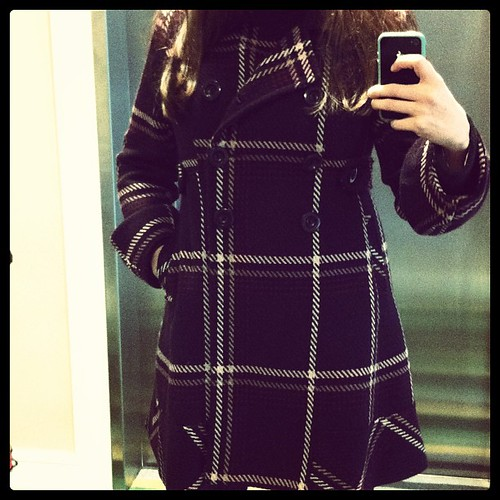 New #plaid #coat. Yes, it is #purple. Crazy! #thriftshopfind