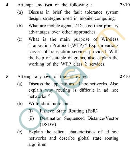 UPTU B.Tech Question Papers -CS-053 - Mobile Computing