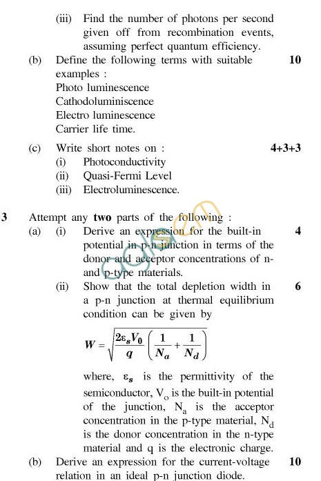 UPTU B.Tech Question Papers - TEC-403-Semiconductor Materials and Devices