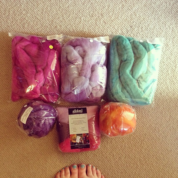 Wool bought today at the Bothwell Spin-In - for making my very over ambitious felt ball rug.