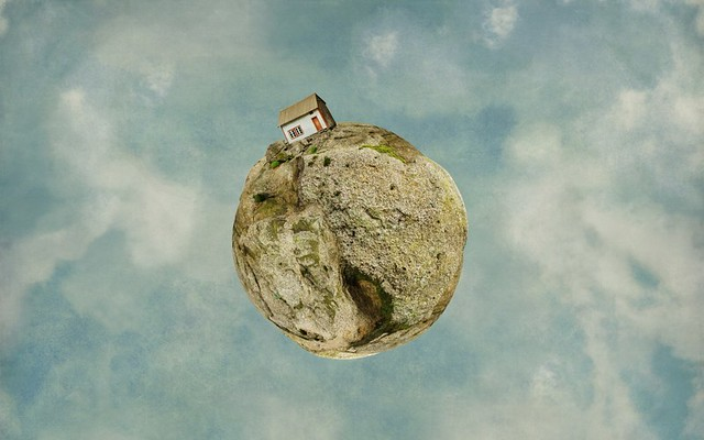 earth, planet, house, photo, manipulation