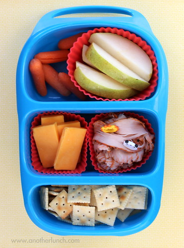 5th grader school lunch pears, carrots, cheese, turkey, & crackers
