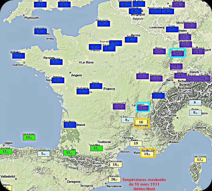 contraste thermique des températures maximales du 10 mars 1931 météopassion