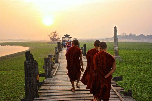 more monks on the world's longest teak bridge