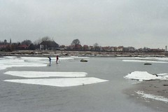 estuary, ice, shore,