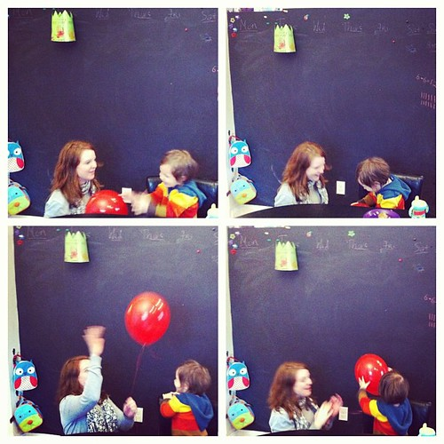 Rebecca, Mick, and red balloon @agmimusthev