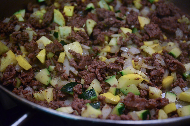 The ground beef mixture after it has finished cooking.