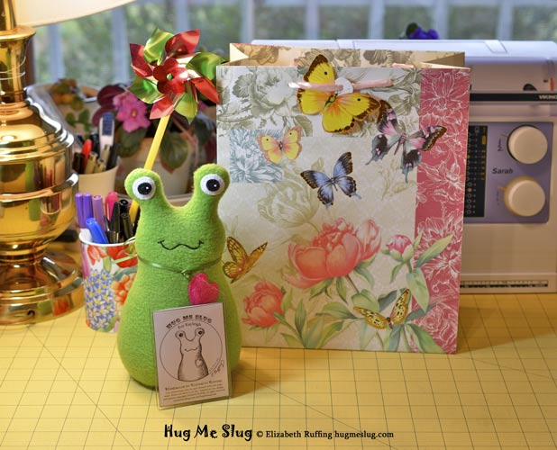 Grass Green Hug Me Slug with gift bag, original stuffed animal art toys by Elizabeth Ruffing