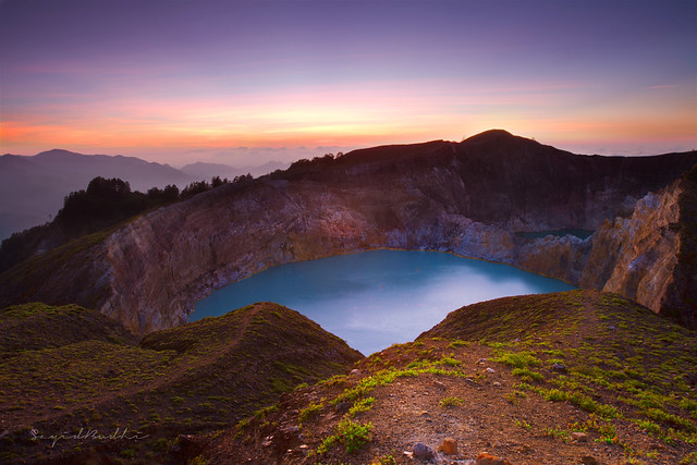 Colors of Dawn Over Mount Kelimutu