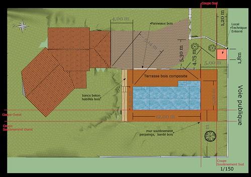 Piscine bloc bancher beton 12m 4 2m piscines r alisations - Plan de masse cote dans les 3 dimensions ...