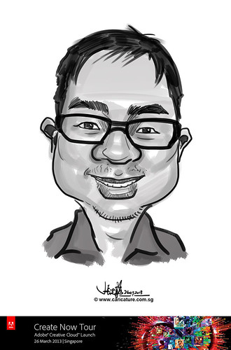 digital caricature for Adobe Create Now Tour - Eric Wei