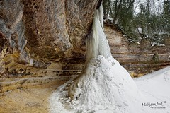 """Frozen in Time""  Munising Falls, Pictured Rocks National Lakseshore by Michigan Nut"