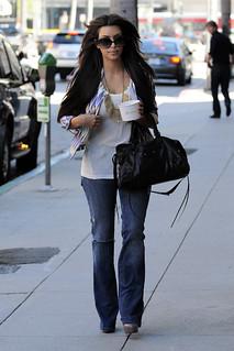 Kim Kardashian Flared Jeans Celebrity Style Women's Fashion
