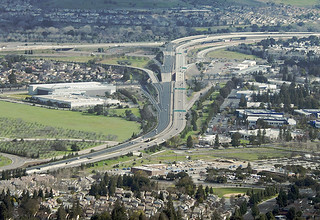 Aerial view of Highways 85 and 101, San Jose, California