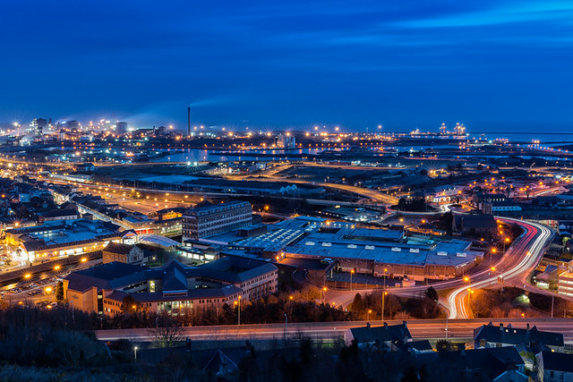 Twilight from above Port Talbot